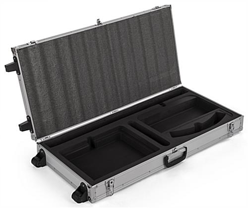 Custom fitted foam padding inside storage case for convertible iPad stands