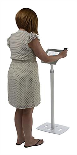 Silver Height Adjustable iPad Donation Kiosk is Square Reader Compatible
