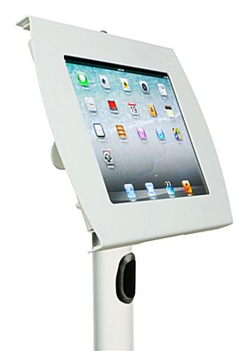 White Kiosk iPad Stand with Locking Enclosure