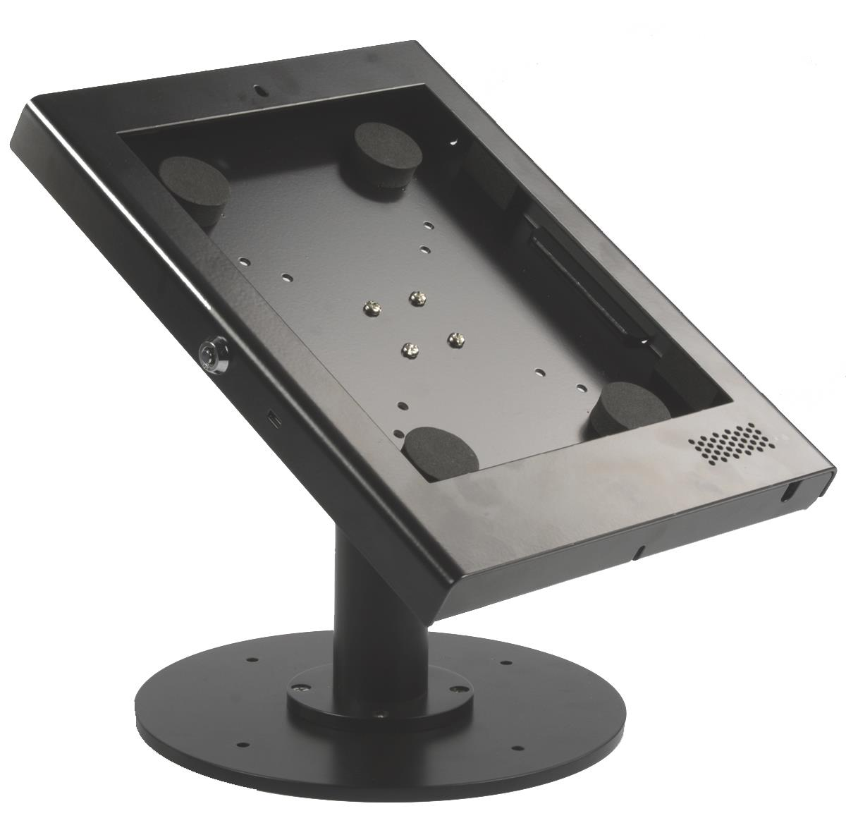 Tablet desktop mount locking enclosure and bolt on base for Stand commercial