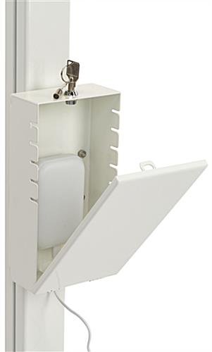 Locking pole mount utility box includes a set of 2 keys