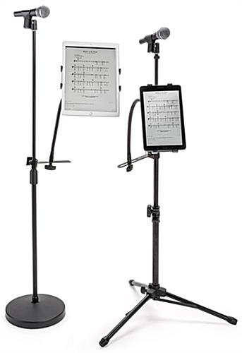 Universal tablet holder mic stand mount compatible with a wide variety of device sizes (devices not included)