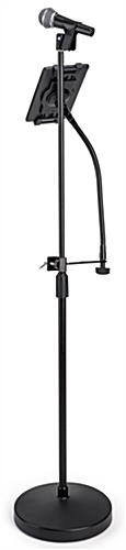 Universal tablet holder mic stand mount accommodates a variety of touchscreen devices (sold separately)