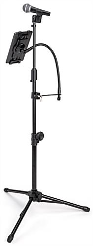 Adjustable microphone stand tablet holder for iPads and other devices