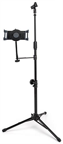Adjustable microphone stand tablet holder with universal bracket for touchscreen devices