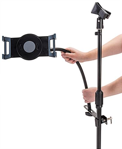 Adjustable microphone stand tablet holder with malleable gooseneck arm