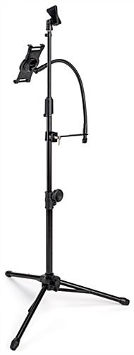 Adjustable microphone stand tablet holder for touchscreen devices