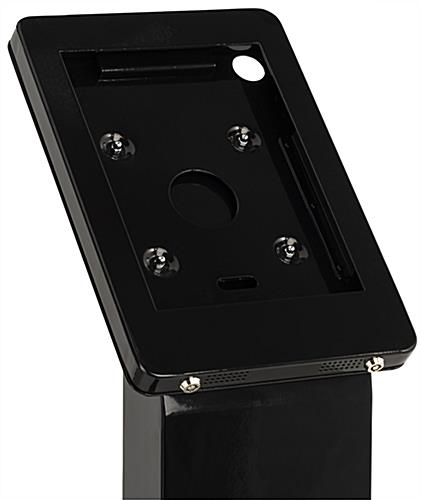 15 inch wide locking floor stand iPad kiosk with double lock enclosure