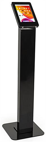 Locking floor stand iPad kiosk with black powder coated finish