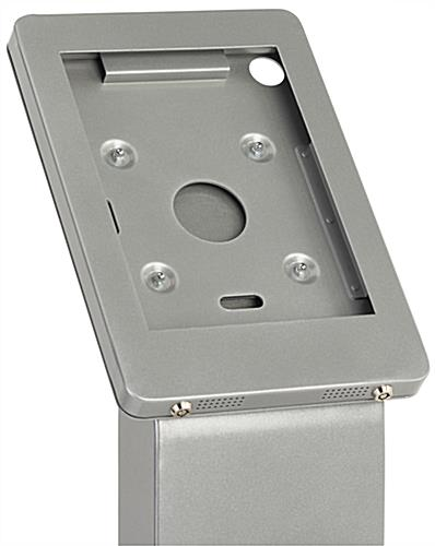 iPad enclosure floor stand with dual locking anti theft enclosure