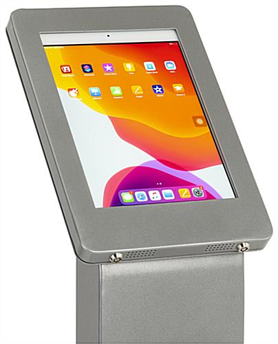 iPad enclosure floor stand with heavy duty aluminum construction