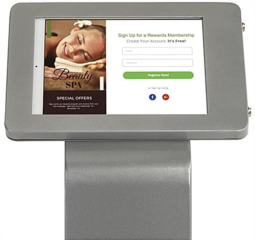Silver iPad enclosure floor stand with rounded edge design