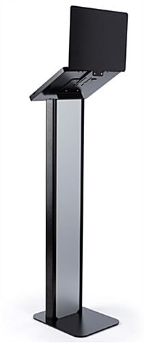Black and silver customizable tablet info kiosk with integrated cable management