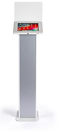 Elegant modern silver and white iPad panel kiosk