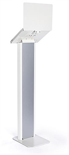 Silver and white iPad panel kiosk with reinforced sturdy base