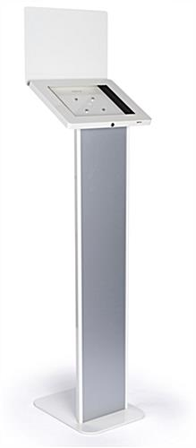 Elegant silver and white iPad panel kiosk