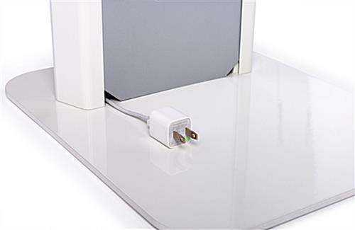 Silver and white iPad panel kiosk for guest check-in, surveys, or product information