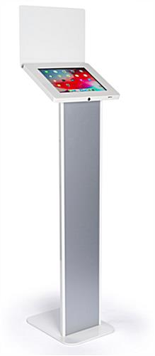 Silver and white iPad panel kiosk with sturdy base