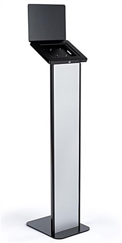 Black and silver brandable tablet kiosk with hinged enclosure for  device access