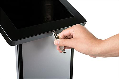 Lockable black and silver brandable tablet kiosk