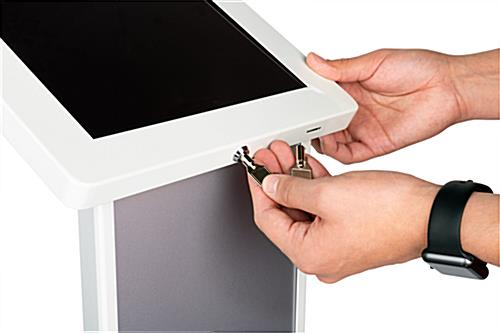 White  iPad kiosk with panel with 2 sets of keys for security