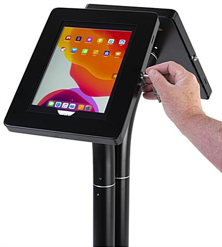 Convertible twin tablet floor stand with lockable steel enclosures