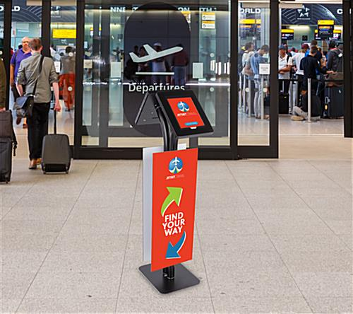 Convertible printed double tablet kiosk with lockable rotating enclosures