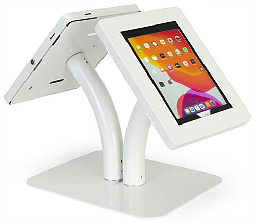 Floor to counter dual sided tablet kiosk with easy height configuration