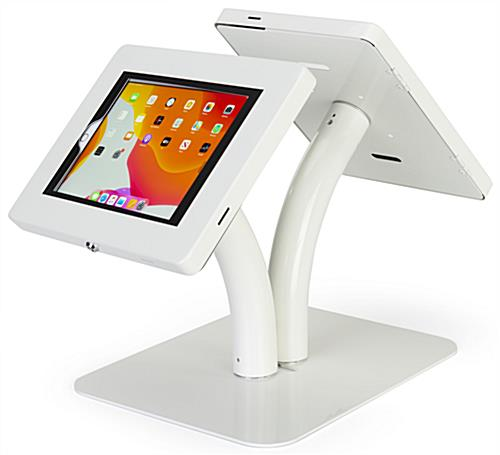 Floor to counter dual sided tablet kiosk with 360 degree rotation