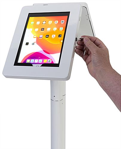 Floor to counter dual sided tablet kiosk with two keys for locking the steel enclosures