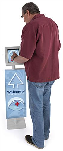Adjustable branded dual tablet floor stand with accessible floor standing configuration