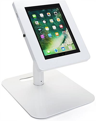 Floor to Counter Tamper-Proof Tablet Holder, Shown at Table Height