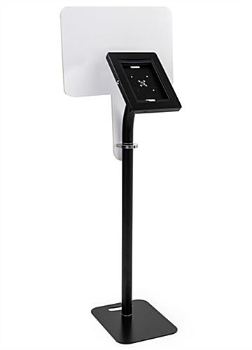 Black height adjustable iPad display with graphics and attachment clamps included