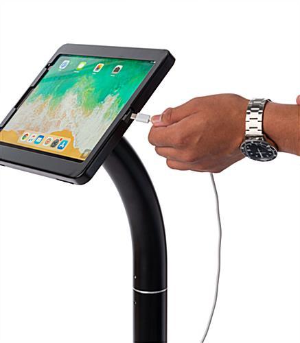 iPad pro floor stand holder with charging port accessibility