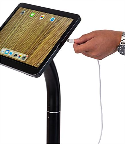 "Adjustable iPad pro 12.9"" floor stand with charging port opening"