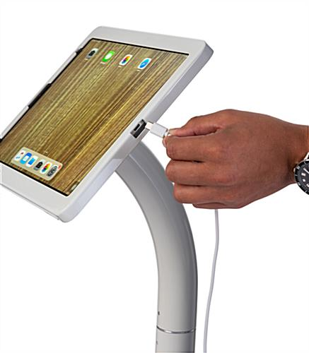 Adjustable 12.9 iPad pro stand with charging port accessibility