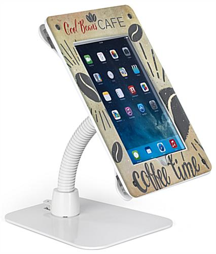 Custom secure flexible iPad stand with UV printed graphics