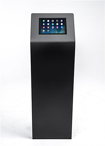 "Black powder coated steel tablet kiosk stand for 12.9"" devices"