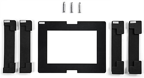 Tablet kiosk stand with included foam pads and face plates for device fitting