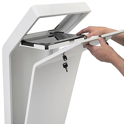 White iPad floor stand kiosk with hinged internal tray for device access