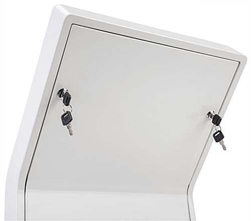 White iPad floor stand kiosk with locking back panel
