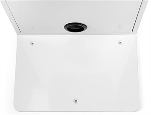 White iPad floor stand kiosk with 3 holes in base for bolting to floor