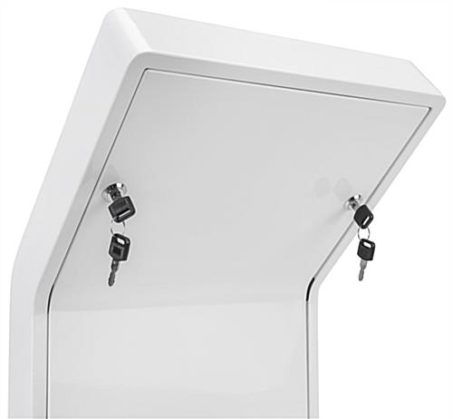 Floor stand for tablet secure compartment with built-in wire management