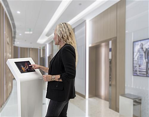 White iPad floor stand kiosk for guest check-in, wayfinding, or product information
