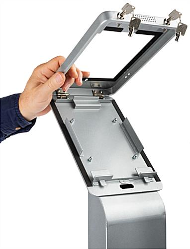 Silver ipad mini floor stand with secure locking compartment