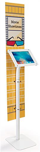 Hybrid iPad Pro foam board banner stand that rotates to allow for portrait or landscape viewing modes