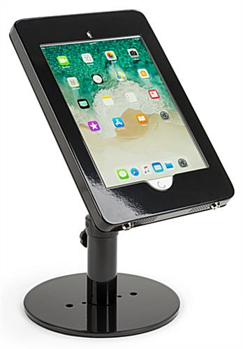 Countertop iPad Pro tablet stand with pre-drilled holes for permanent mounting in public environments