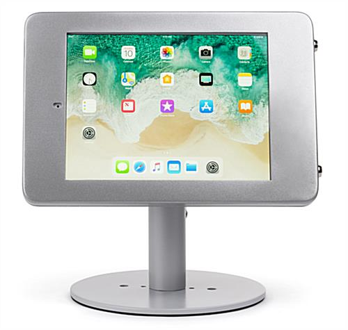 Countertop locking iPad Pro tablet holder in landscape view