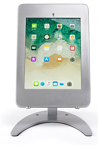 Countertop iPad Pro locking tablet holder stand in portrait view