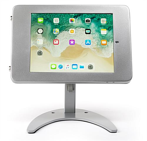 Countertop iPad Pro locking tablet holder stand in landscape mode